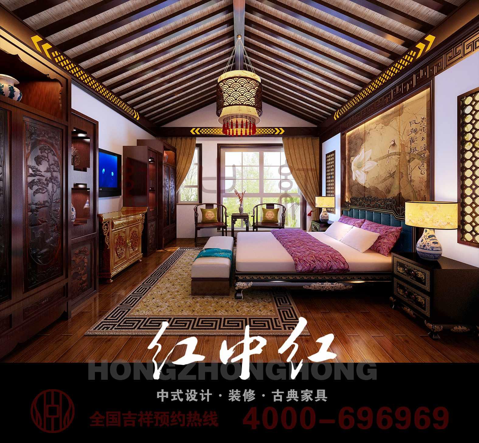 木花格吊顶和大红色圆形吊灯,刚进门看见的墙壁上得窗户为传统的中式图片
