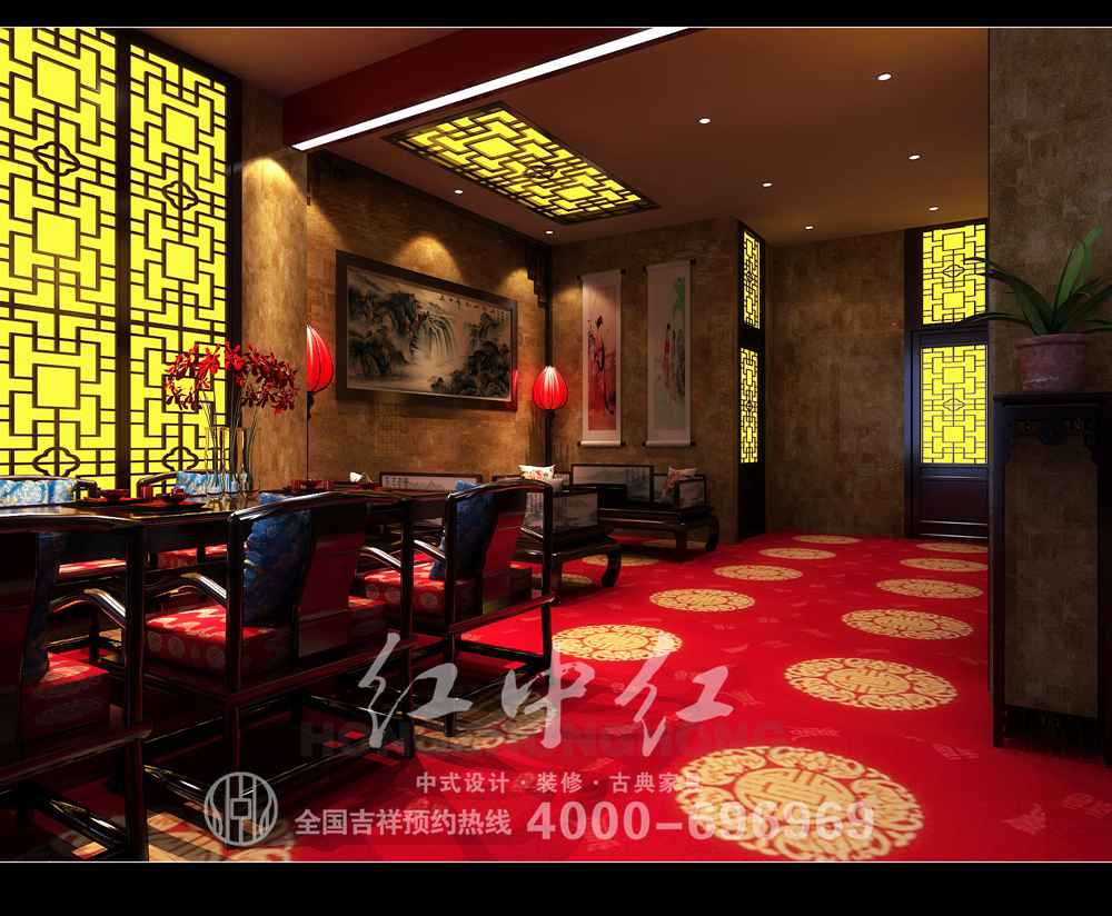 广州中式酒店装修效果图——修心怡性