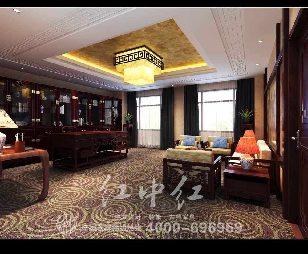色调统一,,既有中国传统元素,又不那么纯中式,办公桌椅,陈设如意回云图片