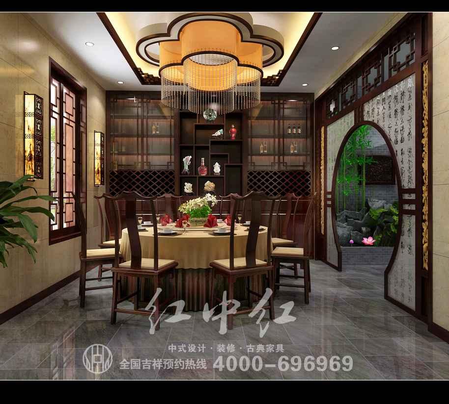 上海私人会所设计效果图——餐厅