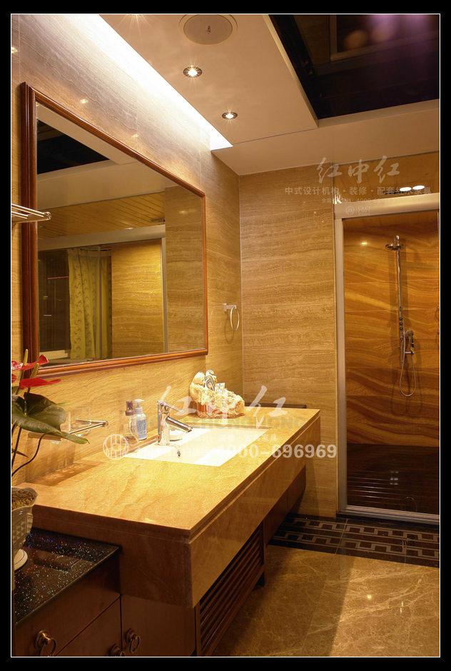 杭州复式楼中式设计案例--二层主卧卫生间效果图-杭州复式楼中式设计高清图片
