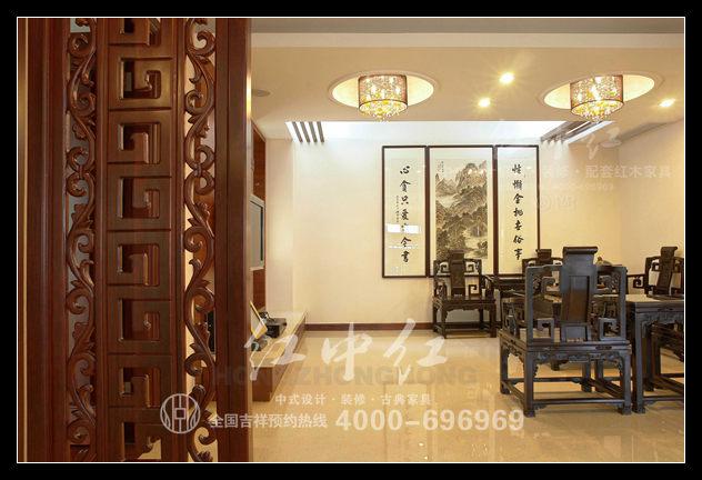 杭州复式楼中式设计案例--二层起居室效果图-杭州复式楼中式设计案例 高清图片