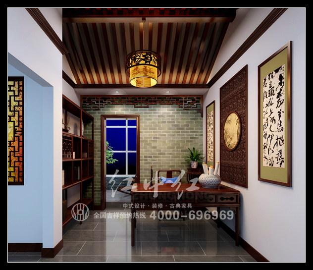 新中式中式家装效果图--书房