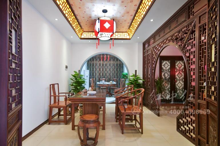 红中红中式设计之中式餐厅设计效果图