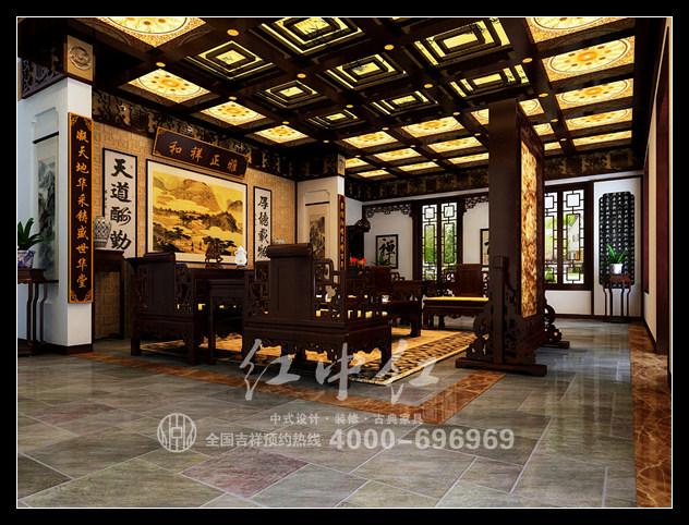 如果中式会所装修设计跟办公室设计一样严肃的话,这无疑就是一个失败图片