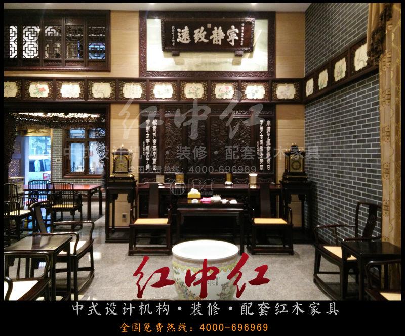 紫檀豪华别墅中式装修案例——中堂